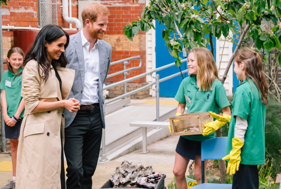 During their pacific tour, the Duke and Duchess meet with school children in Australia and learn about their commitment to the environment, through urban gardening and composting. Two young smiling girls explain their passion for the planet as the royal couple proudly look on