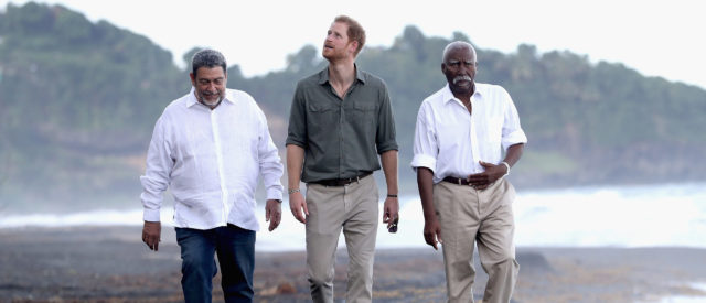 The Duke of Sussex walks with local leaders during his Caribbean tour